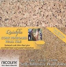 quickfix nicoline cork wall tiles pinboard self adhesive 8mm thick