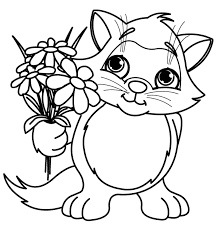 And Print Cute Little Cat With Spring Flower Coloring Pages