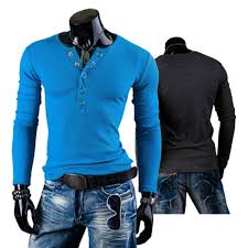 new mens fashion long sleeve v neck button front solid casual t