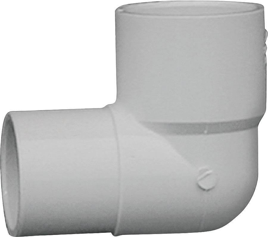 Genova PVC Straight Elbow - White, 90 Degree, 1""