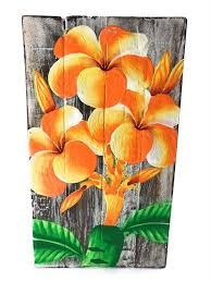 Plumeria Flower Painting On Wood Planks 8 X 45 Rustic Wall Decor