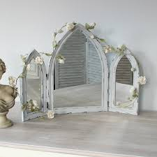 Distressed Bathroom Vanity Gray by Grey Arched Distressed Triple Mirror Vanity Bathroom Dressing