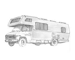Ink Sketch Of An RV