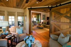 Barn Doors Interior Living Room Rustic With Farmhouse Style Window Coverings