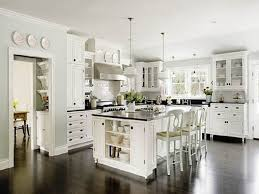 White Kitchen Cabinets With Dark Floors Large L Shape And Hardwood