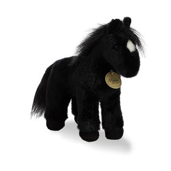 Aurora World Miyoni Plush Toy Animal, Black Horse, 9.5""