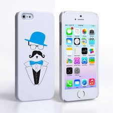 Caseflex iPhone 5 5S Mr Moustache Hard Case Blue