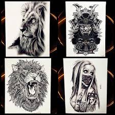 Africa Serengeti Lion Temporary Tattoo Indian Tribal Mighty Warrior Waterproof Flash Sticker Black Tatoo