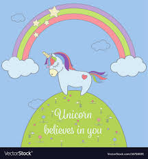 Cute Unicorn And Rainbow With Stars Clouds Vector Image