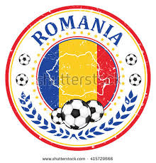 Printable Grunge Romania Soccer Label Containing A Ball And The National Romanian Flag