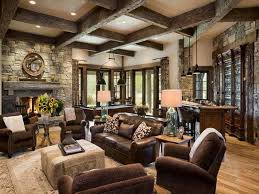 Craftsman Interior Design With Rustic Style For Living Room