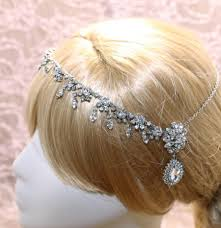 teardrop crystal hair swag forehead chain headdress bridal
