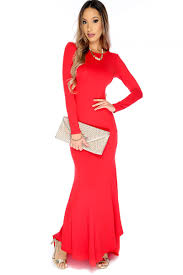 red long sleeve criss cross back high low maxi dress