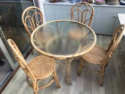Wicker Dining Table With Glass Top And 4 Matching Chairs | In Botley,  Hampshire | Gumtree