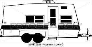 Rv Trailer Vehicle Motorhome Automobile View Large Clip Art Black And White