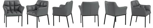 clp loungesessel octavia mit kunstlederbezug i polsterstuhl mit armlehnen und gestell aus edelstahl metall i in vielen farben erhältlich farbe grau