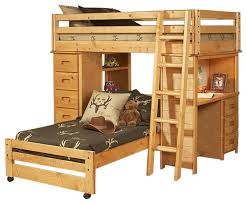bunk bed with chest and desk ends cinnamon twin over twin