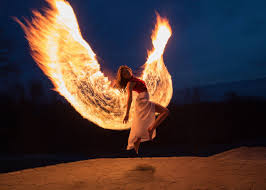 This photographer created phoenix wings by light painting with