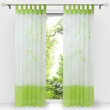 details zu gardinen wohnzimmer vorhänge schlaufenschals fenstergardine modern grün bestickt