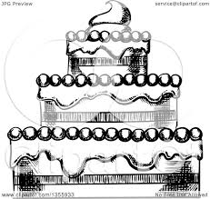 Clipart of a Black and White Sketched Wedding Cake Royalty Free Vector Illustration by Vector Tradition SM