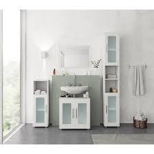 vicco badmöbel set rayk badezimmer spiegel kommode unterschrank verglast weiß