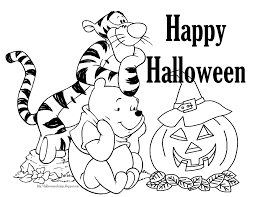 Startling Color Pages For Halloween Tigger And Pooh Free Disney Coloring