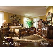 AICO Palais Royale 4pc Queen Size Bedroom Set in Rococo Cognac