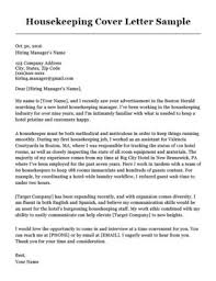 Related Cover Letter And Resume Housekeeping Sample