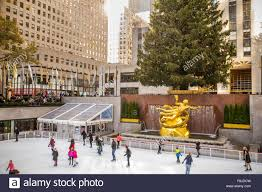 Rockefeller Plaza Christmas Tree by View At Historic Rockefeller Plaza In Manhattan During The