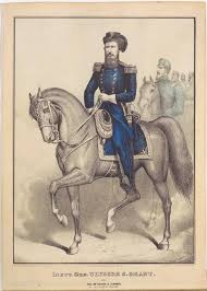 General In Blue Uniform Astride Horse Facing Center Not Color