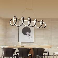 großhandel moderne stilvolle spirale 90cm 120cm acryl led pendelleuchte weiß schwarz hängende leuchte für esszimmer schlafzimmer arbeitszimmer