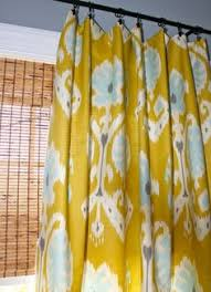 Yellow And White Curtains Etsy by Teal Turquiose Lime Green Yellow And Ivory Geometric Curtain