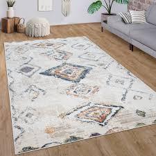 teppich wohnzimmer kurzflor modernes rauten ethno boho 3d muster in creme bunt