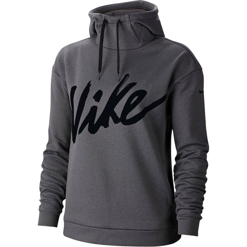 Nike Women's Therma Fleece Training Hoodie - Grey/Black