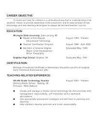 Objective For Resume Teacher Teaching Objectives Sample Teachers