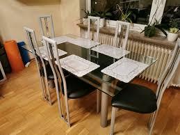 glastisch mit 6 stühle
