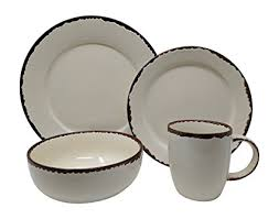 Giannas Home 16 Piece Rustic Farmhouse Country Stoneware Distressed Dinnerware Set Service For 4