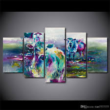 2018 modern abstract painting 5 panel no frame cow animal