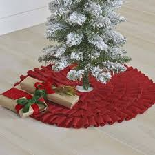 Festive Red Burlap Ruffled Mini Tree Skirt Primitive Home