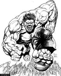 Marvel Superhero Incredible Hulk Running Coloring Page Printable