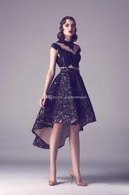 black lace high low prom dress 2017 two pieces sheer sweetheart