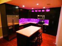 kitchen cabinet led lighting with purple colors