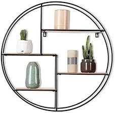 schwarzes industrial wandregal aus holz und metall edles rundes regal für die wand für bücher deko küche und badezimmer 55 x 11 cm hängeregal