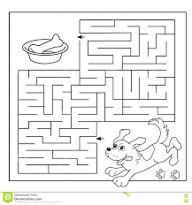 Labyrinth Printable Coloring Pages Education Maze Game Preschool Children Puzzle Page Outline Dog Bone Book Kids