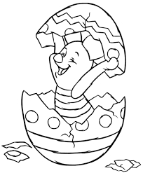 Piglet Hatching From Easter Egg Disney Coloring Page