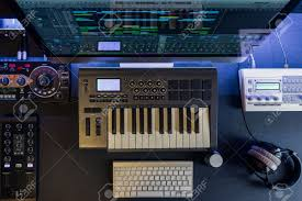 Flat Top Lay Home Music Studio Dj And Producer Equipment On The Black Table Stock Photo