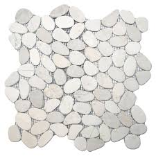 sliced white pebble tile 12 x 12 river rock tile