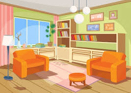 Vector Illustration Of A Cartoon Interior An Orange Home Room Living With