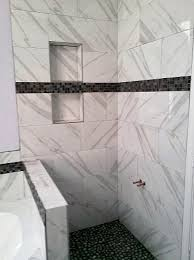 shower remodel with pietra calacatta 12x24 porcelain tile