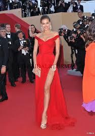Evening Dresses Red Carpet by Irina Shayk Red Dress Off The Shoulder High Slit Beaded Chiffon